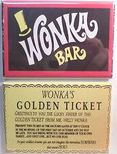 "Wonka Bar & Golden Ticket Vintage Candy Wrapper 2""x3"" Fridge or Locker MAGNET"