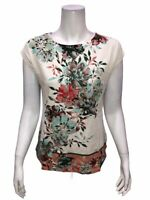 Studio by Denim & Co. Printed Dolman Cap Sleeve Curved Hem Top Blush 1X Size
