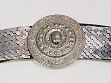 Vtg Fish Scale Belt Silver Tone Metal Ladies 80s Stretch Medium Large 28-30