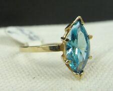 14k Yellow Gold Ring w Topaz? Beautiful Blue gem - Sz 6 - Total weight 2.2 gr