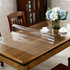 PVC Wipe Clean Transparent Tablecloth Glass Waterproof Table Protection Cover