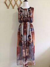 You&Me Women's Print Chiffon Maxi Dress Sundress.Size M,