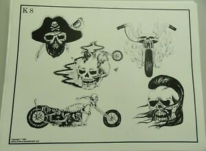 Vintage 1982 RARE Spaulding & Rogers Tattoo Flash Sheet K8 Skulls Motorcycle