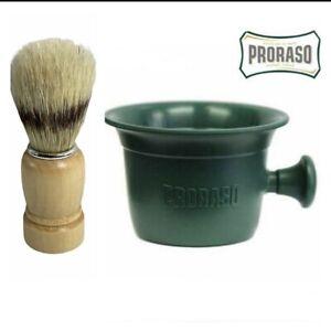 PRORASO Green Professional Shaving Mug Bowl Heavy Duty Barber Shaving Brush Set
