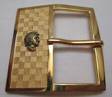 Vintage Belt Buckle Gold Tone Spartan Guy Helmet Spartans