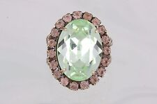 SORRELLI FACETED GREEN, PINK & PEACH STONES RING SIZE 6 1/2 FASHION SIGNED 5026