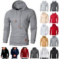 Men Fleece Hooded Hoodie Sweatshirt Muscle Plain Casual Loose Pullover Coat Tops