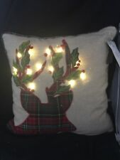 Pier 1 One Imports Christmas LED Light Up Throw Pillow with Deer NWT