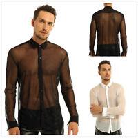 Mens See Through Mesh Long Sleeve Top Shirt Gym Muscle Shirt Clubwear Undershirt