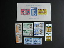 LIBERIA imperf pairs & souvenir sheet, MNH (one marked on back), check them out!