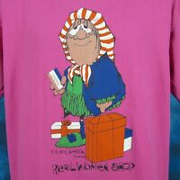 vintage 80s REAL WOMEN SHOP CARTOON T-Shirt LARGE funny old joke super soft thin
