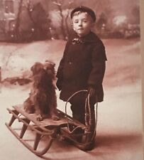 Child Portrait Photo Dog Boy Sled Postcard Cabinet Card Reproduction Unposted