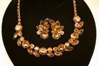 Vintage Amber & AB Rhinestone Necklace Clip Earrings Set