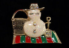 Macy's Holiday Lane Snowman on the Beach Pin Brooch in Presentation Box