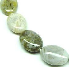8 HUGE NATURAL Bamboo Jasper Flat Oval Stone Beads 18x25 K2747