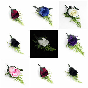Artificial Bridal Wedding Silk Rose Button Hole Corsage Buttonhole Pin Groom ML