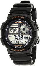 Casio Black World Time Map 5 Alarms 10 Year Battery Watch AE-1000W-1AV New