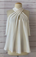ALC Womens Size 10 100% Silk Crepe Halter Cold Shoulder Top Ivory White