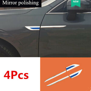 2 Pair Fender Trims Decoration Cover Mirror Polishing Stainless Steel Universal