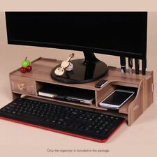 Monitor Stand Riser Wooden Home Office Desk Organizer With Keyboard Storage Slot