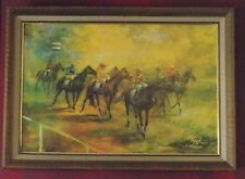 Vtg Horse Equestrian Jockey Art Wall Hanging Mid Century Modern MCM Picture