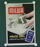 org. altes Werbe  Plakat  Milwa Waschmittel wäscht alles  Persil Werk Genthin