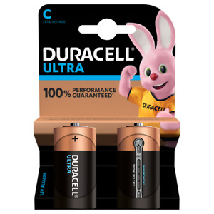2 x Duracell Ultra Power C Type Alkaline Batteries Duralock - 1.5v LR14 MX1400