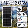 20W Mono Solar Power Panel 12V/ 5V DC/USB Battery Charger For RV Boat Car