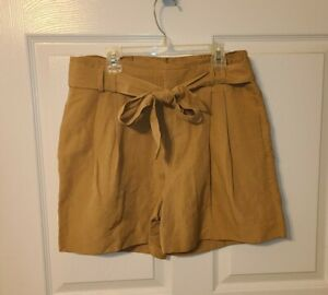 NWT $58 Banana Republic 4 Luxe Linen Tan Belted Pleated Shorts Paper Bag Waist