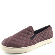 Steve Madden Ecentrcq Burgundy Leather Quilted Loafers Shoes Women's Size 10 M*