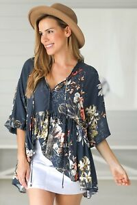 NEW Chloe - Indigo Top Salty Crush Women Fashion Style Ladies
