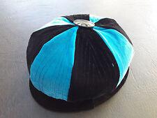 Antique 1910-20s Velvet CLOCHE Hat Velvet striped button top