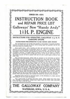 GALLOWAY'S HANDY ANDY 1 1/4 HP Hit & Miss Engine Instruction & Repair List 2