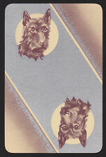 1 Single VINTAGE Swap/Playing Card DOGS SCOTTIE HEADS on SILVER Reversible