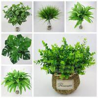 Home Office Wedding Decor Artificial Plant Fake Leaf Green Grass Foliage Bush