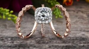 3 Piece Moissanite Round Cut Halo Bridal Ring Set, Wedding Milgrain Band