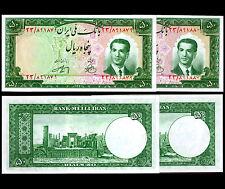 84-IRAN. 50 Rials Bank Notes. Pick 56.Pair of Consecutive serial numbers. UNC.