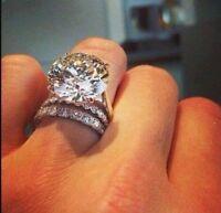 2PCS 3.64CT Huge White Sapphire Gemstone Wedding Ring 925 Silver Jewelry Sz 6-10