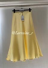 Zara Yellow Satin Midi Skirt. Size Small