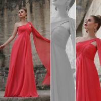 UK Ever-Pretty Long One Shoulder Bridesmaid Dresses Red Maxi Evening Dress 09816