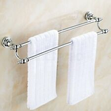 Wall Mounted Chrome Double Towel Rail Rack Holder Bar Bathroom Hardware