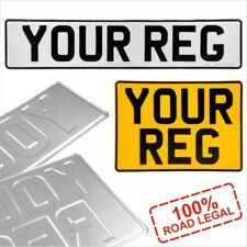Pair Oblong and Square 11x8 Pressed Metal Number Plates Plain Car REG Road Legal