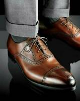 Chaussures habillées richelieu en cuir véritable marron Oxford pour hommes faits