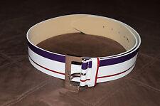 WORTH NY White & Purple Striped Italian Genuine Leather Wide Belt size L NWOT