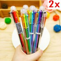 2x 6 in 1 Multi-color Ballpoint Pen Ball Point Pens For School Office Stationery