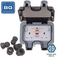 BG Weatherproof RCD IP66 Outdoor 13A Double Socket WP22RCD + FREE 20mm Glands