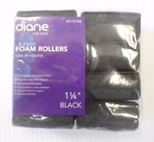 "Diane Soft Foam Cushion Hair Rollers Curlers Extra Large 8pc 1 1/4"" Black D1919B"