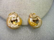 Vintage Gold Tone Enameled Yellow and Pearly Cream Loop Stud Clip Earrings-1980
