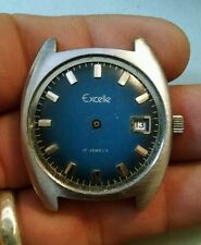 Rare Vintage Blue Face Excelle Mens 17j watch by Elgin for repair or parts