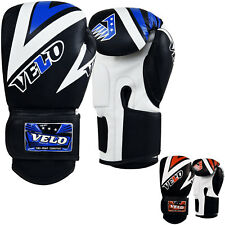 VELO Boxing Gloves Punch Training Mitts Leather Fight Sparring Muay Thai